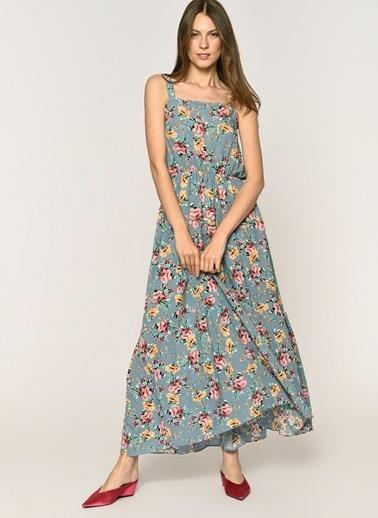 Loves You İnce Askılı Fırfırlı Emprime Elbise Mavi